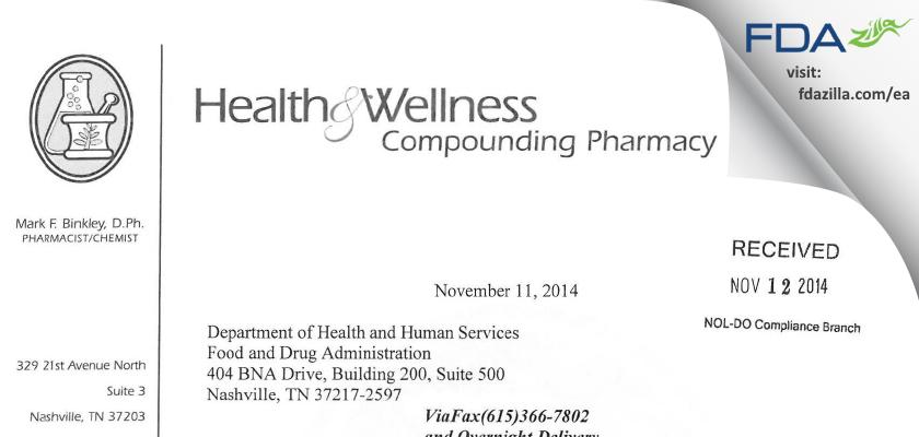 Green Hills Health and Wellness Pharmacy FDA inspection 483 Oct 2014
