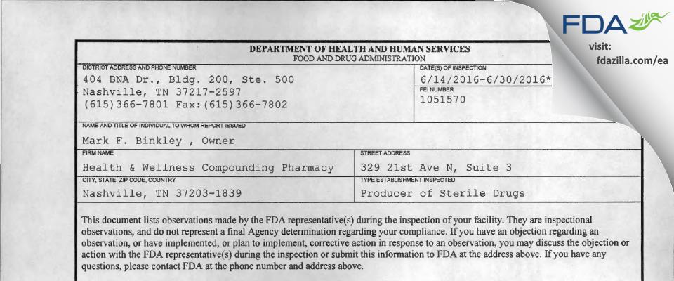 Green Hills Health and Wellness Pharmacy FDA inspection 483 Jun 2016