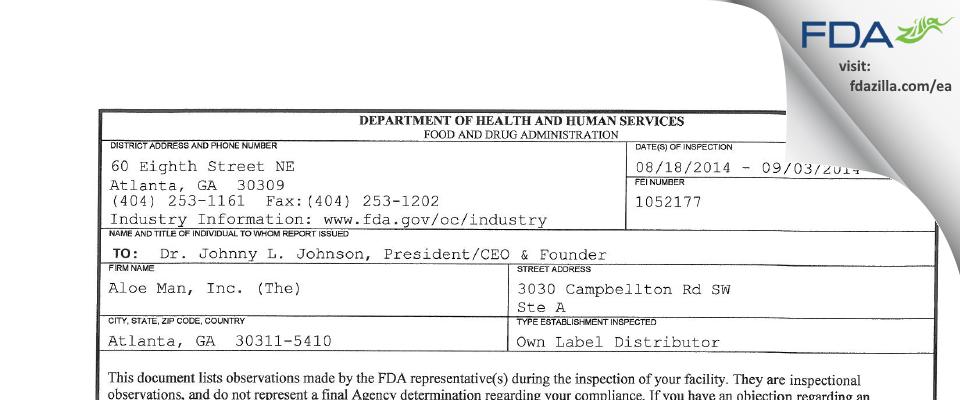 Aloe Man (The) FDA inspection 483 Sep 2014