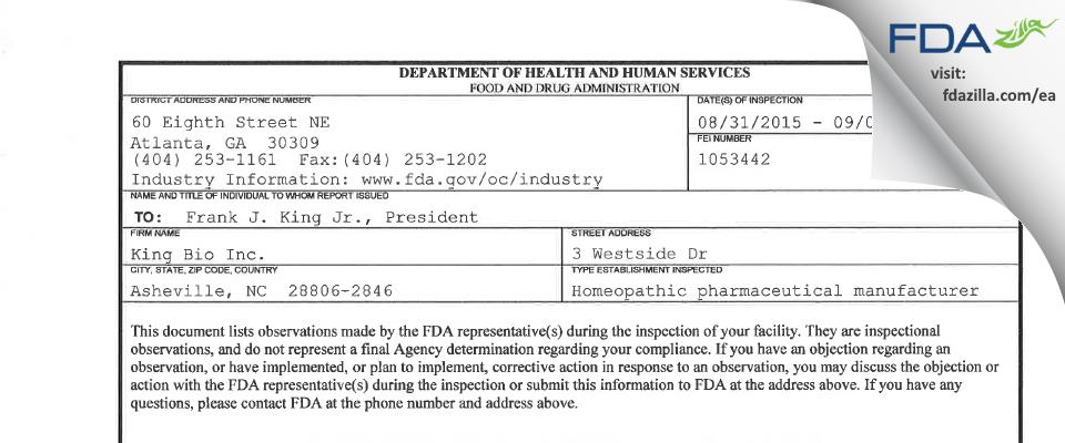 King Bio FDA inspection 483 Sep 2015
