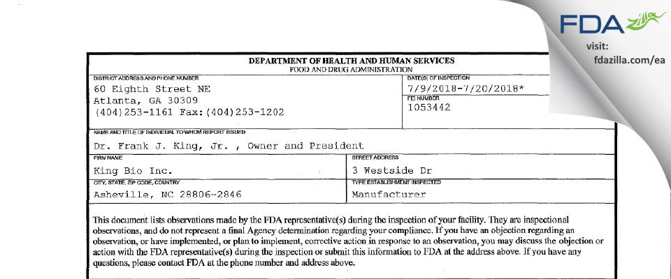 King Bio FDA inspection 483 Jul 2018