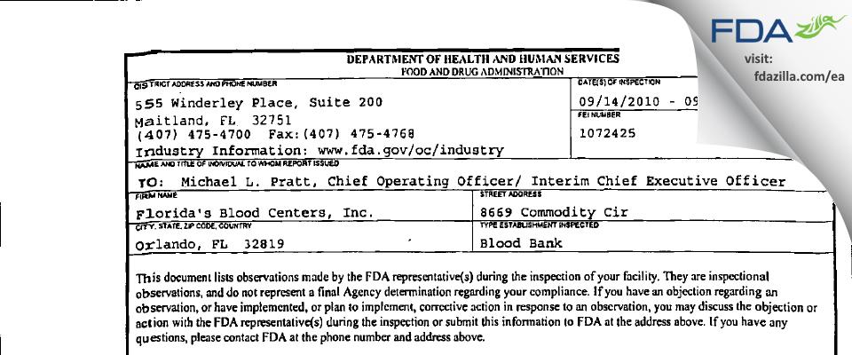 OneBlood FDA inspection 483 Sep 2010