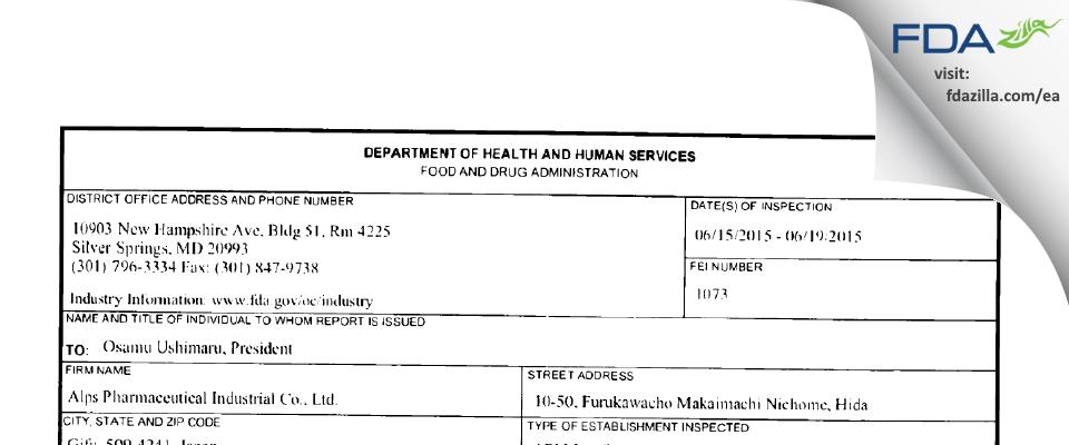 Alps Pharmaceutical Industrial FDA inspection 483 Jun 2015