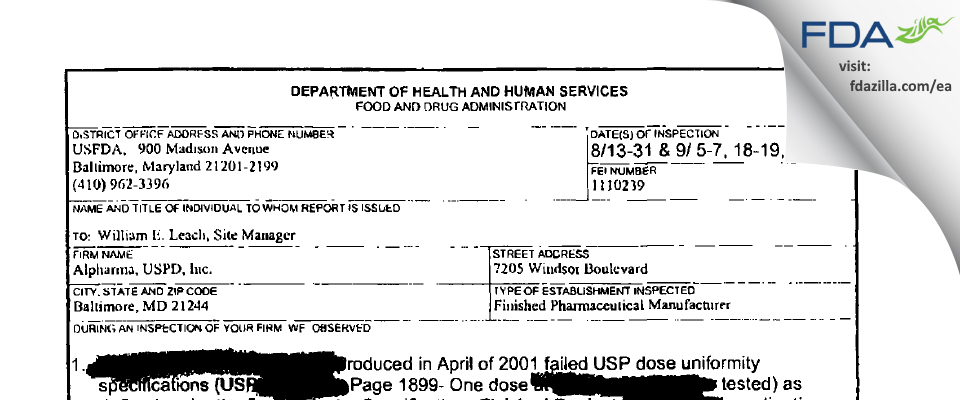 Actavis Mid-Atlantic. FDA inspection 483 Sep 2001