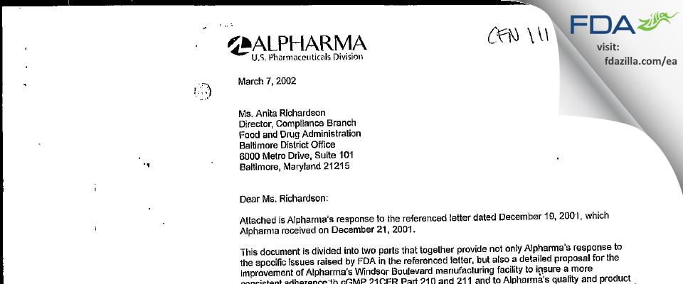 Actavis Mid-Atlantic. FDA inspection 483 Sep 2001