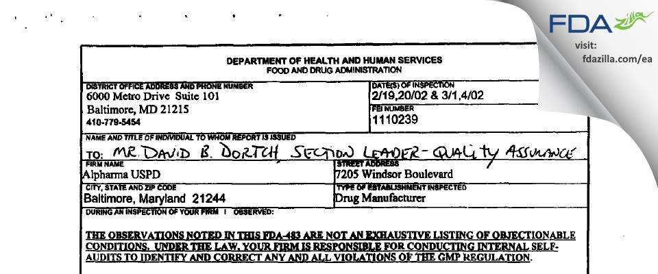 Actavis Mid-Atlantic. FDA inspection 483 Mar 2002