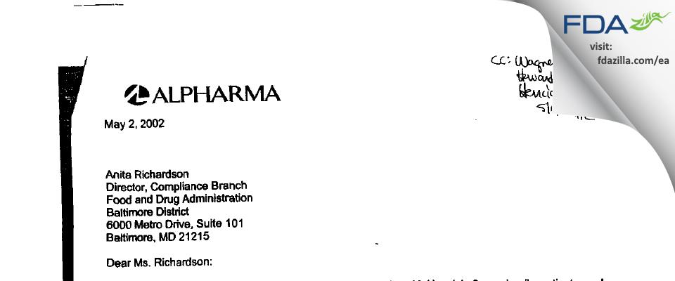 Actavis Mid-Atlantic. FDA inspection 483 Apr 2002