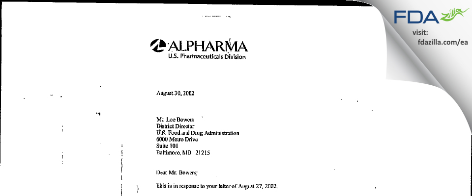 Actavis Mid-Atlantic. FDA inspection 483 Aug 2002
