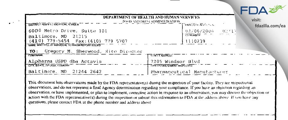 Actavis Mid-Atlantic. FDA inspection 483 Feb 2006