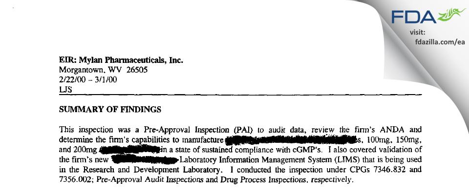 Mylan Pharmaceuticals FDA inspection 483 Mar 2000