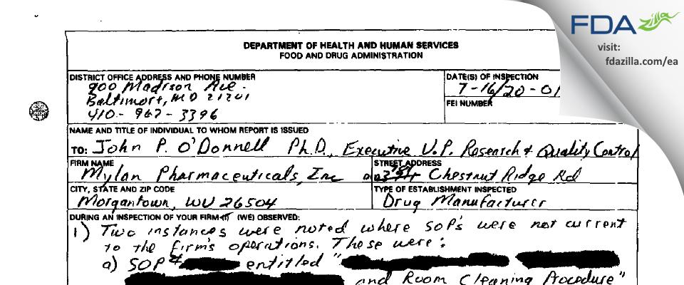 Mylan Pharmaceuticals FDA inspection 483 Jul 2001