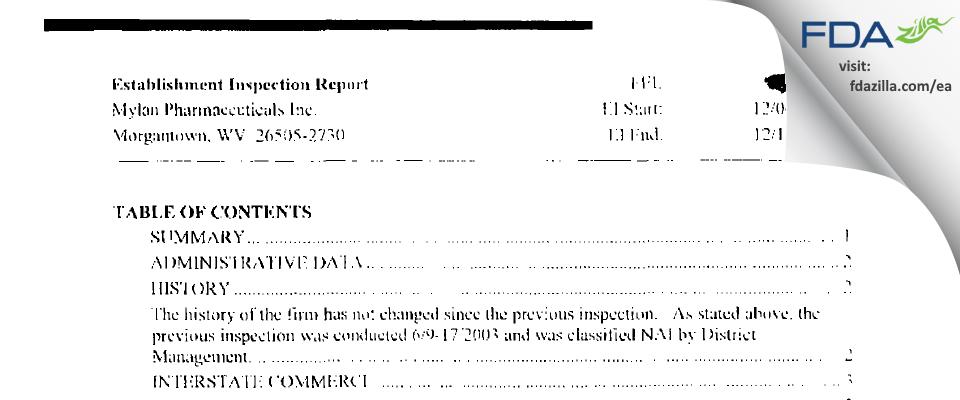 Mylan Pharmaceuticals FDA inspection 483 Dec 2004
