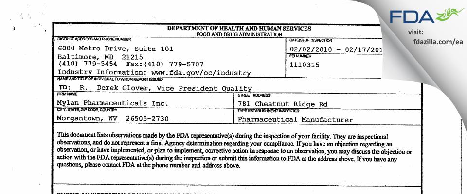 Mylan Pharmaceuticals FDA inspection 483 Feb 2010