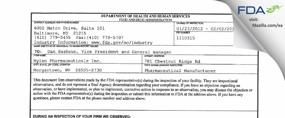 Mylan Pharmaceuticals FDA inspection 483 Feb 2012