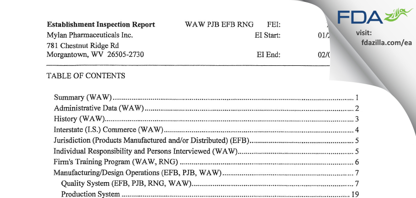 Mylan Pharmaceuticals FDA inspection 483 Feb 2012
