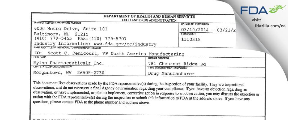 Mylan Pharmaceuticals FDA inspection 483 Mar 2014