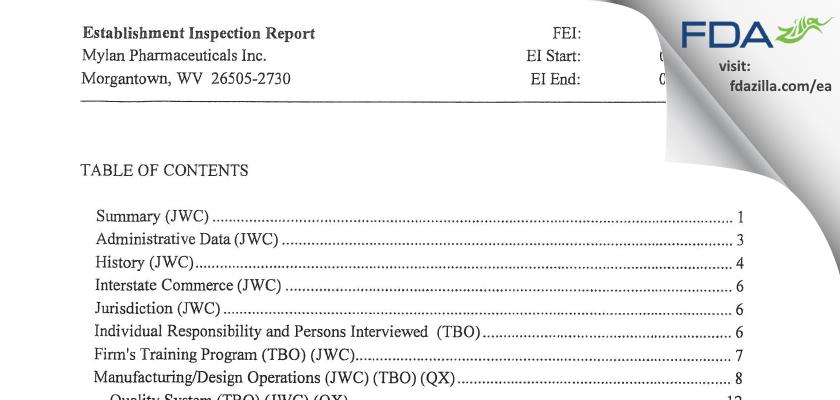 Mylan Pharmaceuticals FDA inspection 483 Apr 2015