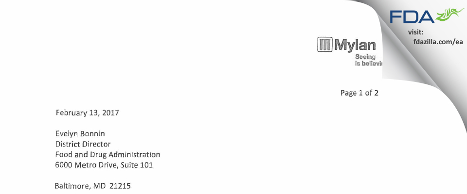 Mylan Pharmaceuticals FDA inspection 483 Nov 2016