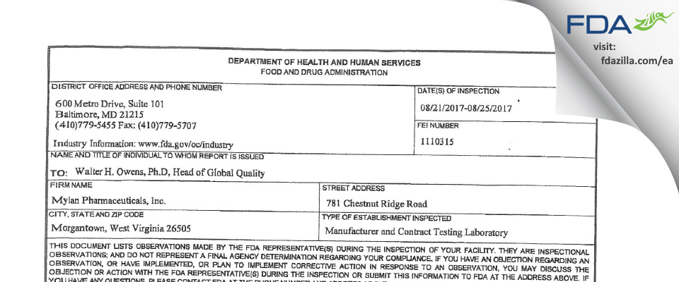 Mylan Pharmaceuticals FDA inspection 483 Aug 2017