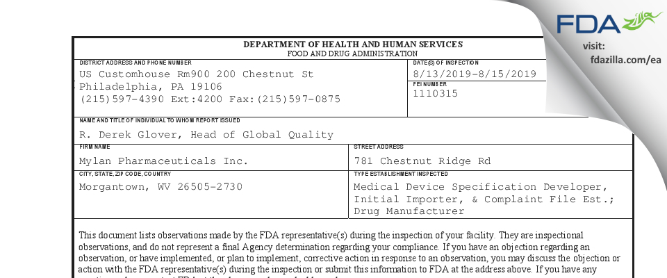 Mylan Pharmaceuticals FDA inspection 483 Aug 2019