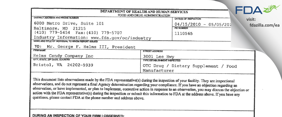 Helms Candy Company FDA inspection 483 May 2010