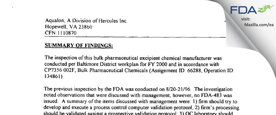 Ashland FDA inspection 483 Apr 2000