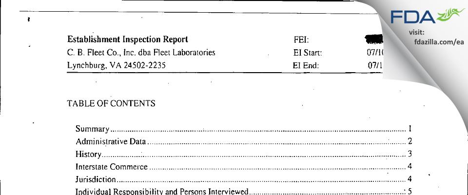 C. B. Fleet dba Fleet Labs FDA inspection 483 Jul 2006