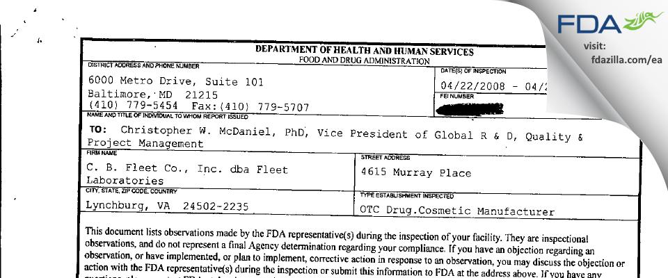 C. B. Fleet dba Fleet Labs FDA inspection 483 Apr 2008