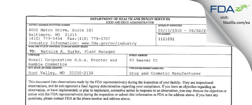 Noxell d.b.a Procter and Gamble Cosmetics FDA inspection 483 Jun 2010