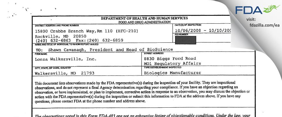 Lonza Walkersville FDA inspection 483 Oct 2008