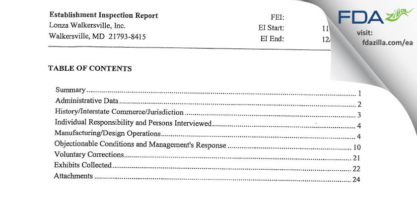 Lonza Walkersville FDA inspection 483 Dec 2011