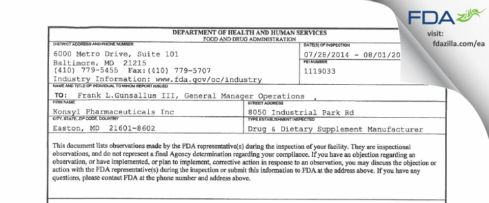 Konsyl Pharmaceuticals FDA inspection 483 Aug 2014