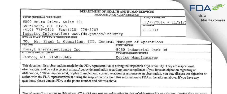 Konsyl Pharmaceuticals FDA inspection 483 Nov 2014