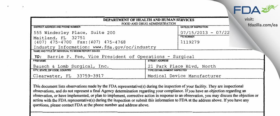 Bausch & Lomb Surgical FDA inspection 483 Jul 2013