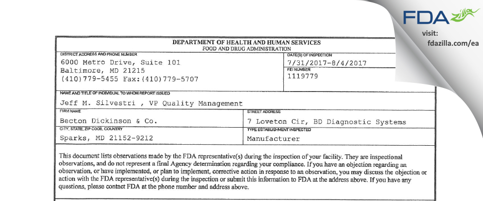 Becton Dickinson & FDA inspection 483 Aug 2017
