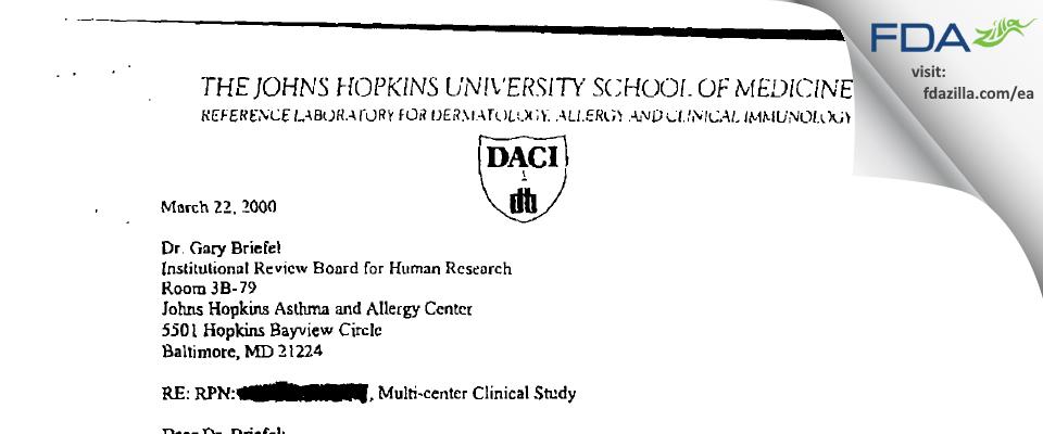 Johns Hopkins University School of Medicine IRB FDA inspection 483 Feb 2000