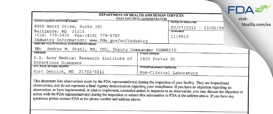 U.S. Army Medical Research Institute of Infectious Diseases FDA inspection 483 Mar 2012