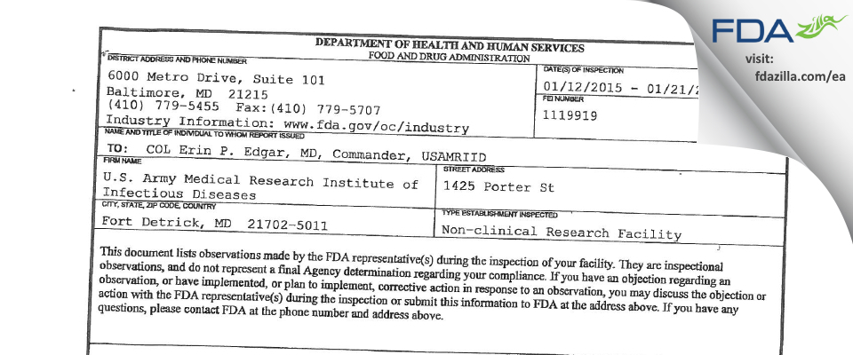 U.S. Army Medical Research Institute of Infectious Diseases FDA inspection 483 Jan 2015