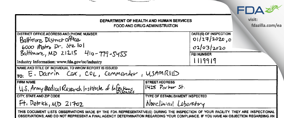 U.S. Army Medical Research Institute of Infectious Diseases FDA inspection 483 Feb 2020