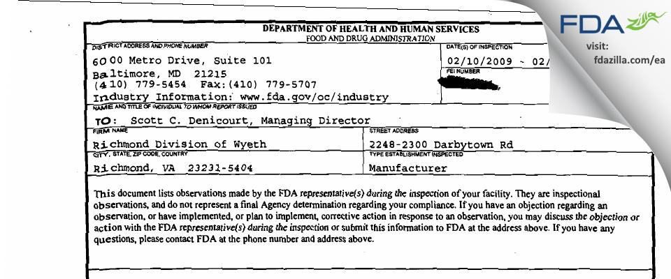 Fareva Richmond FDA inspection 483 Feb 2009