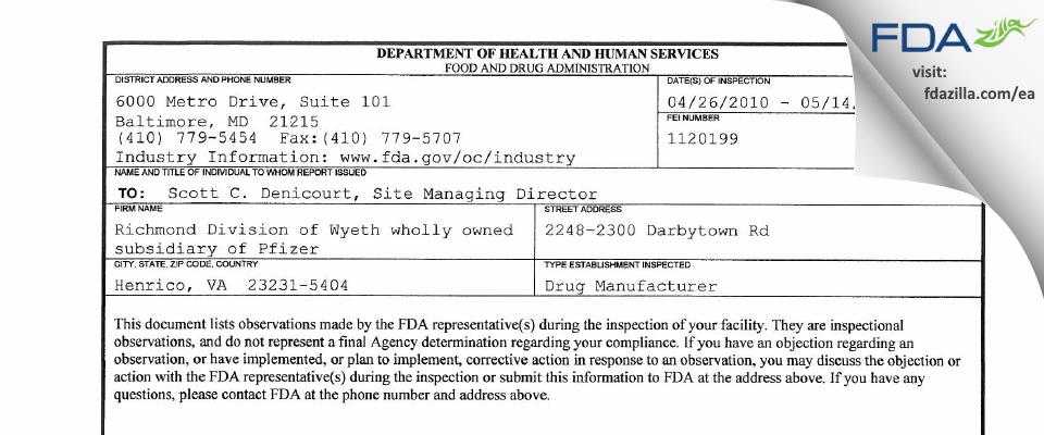 Fareva Richmond FDA inspection 483 May 2010
