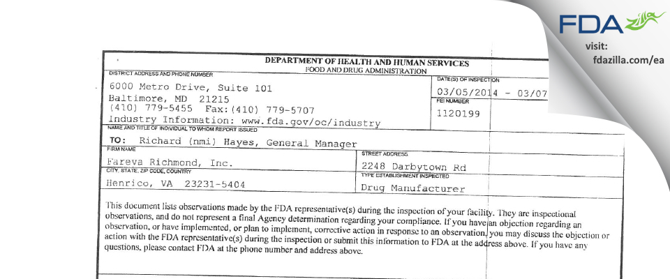 Fareva Richmond FDA inspection 483 Mar 2014