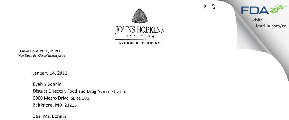 Johns Hopkins University School of Medicine IRB FDA inspection 483 Jan 2011