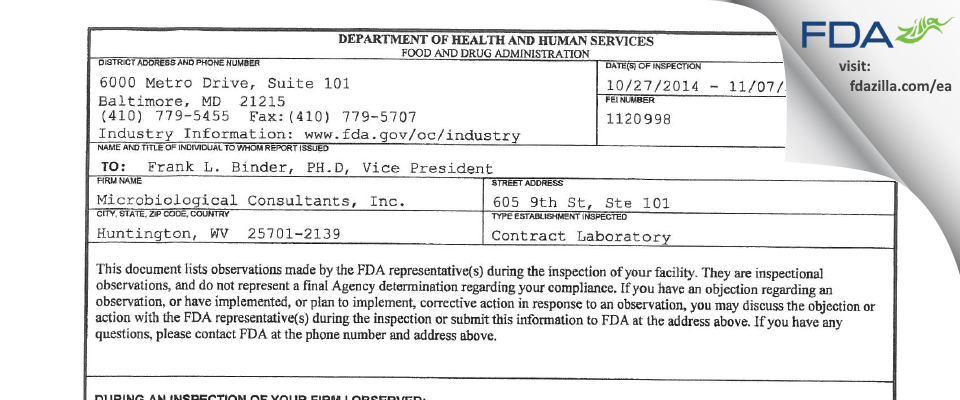 Microbiological Consultants FDA inspection 483 Nov 2014