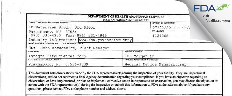 Integra LifeSciences FDA inspection 483 Aug 2011