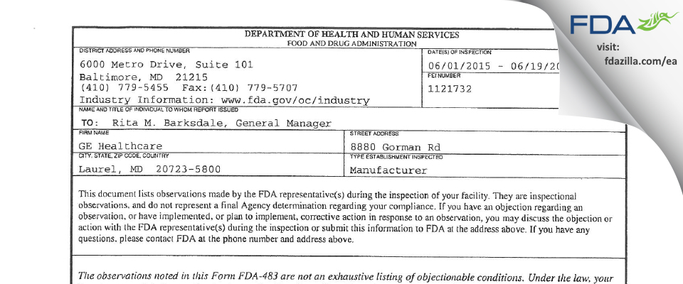 Ohmeda Medical FDA inspection 483 Jun 2015
