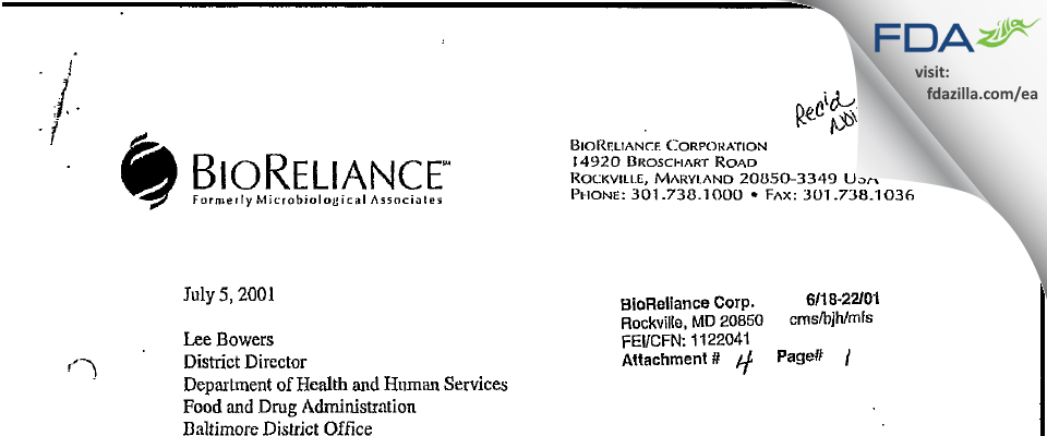 BioReliance FDA inspection 483 Jun 2001