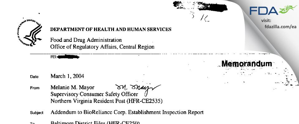 BioReliance FDA inspection 483 Jul 2003