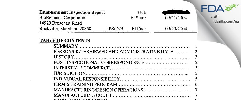 BioReliance FDA inspection 483 Sep 2004