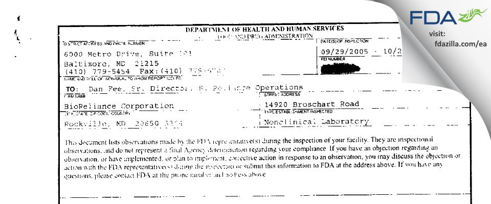 BioReliance FDA inspection 483 Oct 2005